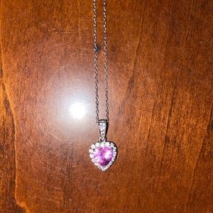 Jewelry - 7.0mm Sterling Silver Pink Pendant Necklace